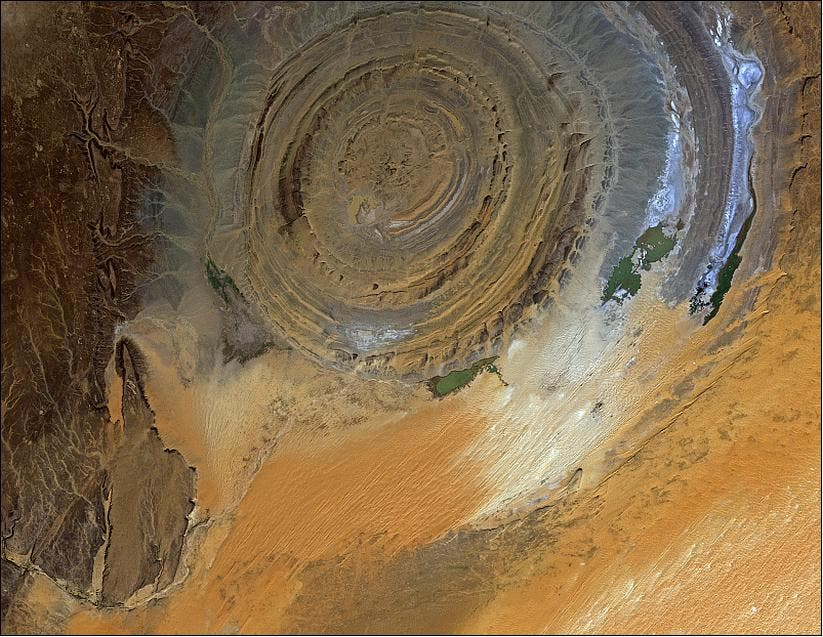 Richat structure in the Sahara Desert of Mauritania, acquired on Nov. 23, 2010 with the AVNIR-2 instrument on ALOS (image credit: JAXA, ESA)