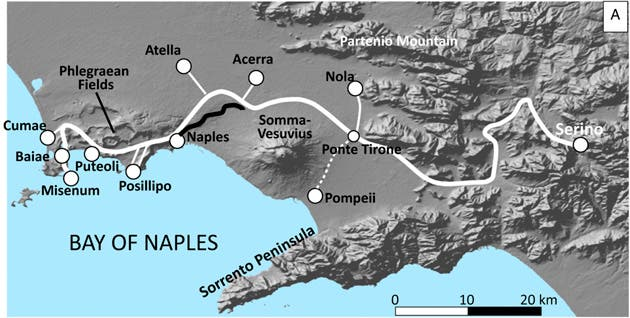 White line: Aqua Augusta aqueduct that supplied water to the cities in the Bay of Naples. Credit: PNAS