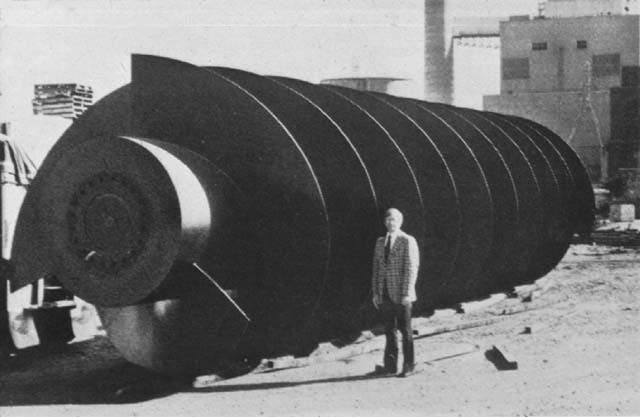 One of eight 12-ft.-diameter Archimedes screws in Texas CIty, Texas, USA. Credit: Popular Mechanics (April 1980, page 62).