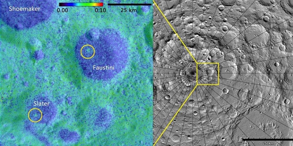 Albedo map credit: NASA GSFC/SwRI Topographic map credit: NASA GSFC/ASU Jmoon