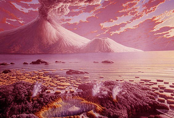 Artist impression of early Earth atmosphere. Credit: Peter Sawyer