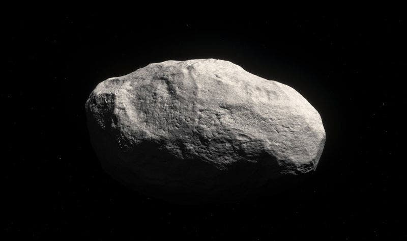 Artist impression of the first rocky object found in the Oort cloud.