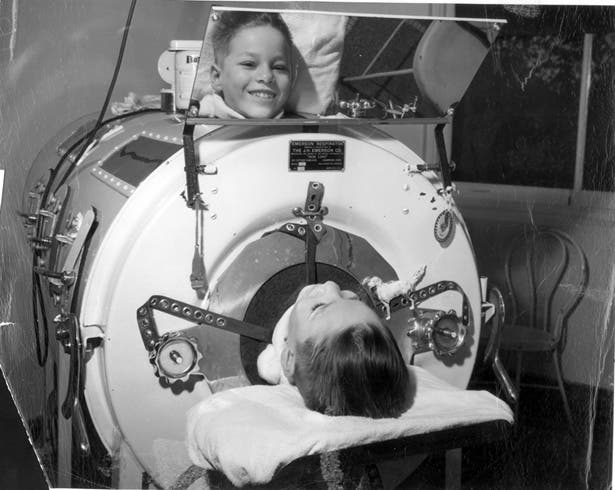 "In 1928, Philip Drinker and Louie Shaw developed the ""iron lung"" to save the lives of those left paralysed by polio and unable to breathe. The patient had to spend around two weeks confined. Those who weren't temporarily paralyzed had a to live with a different prison for all their lives."