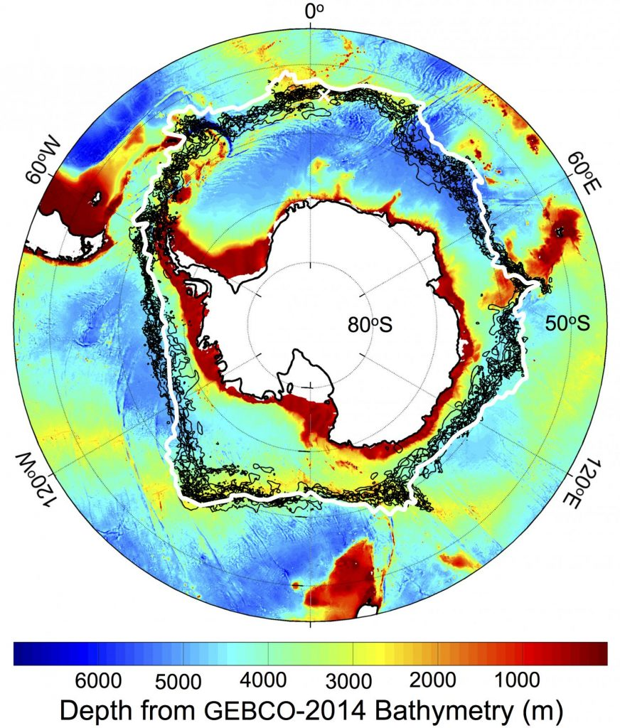 Location of the southern Antarctic Circumpolar Current front (white contour), with -1 degree Celsius sea surface temperature lines (black contours) on Sept. 22 each year from 2002-2009, plotted against a chart of the depth of the Southern Ocean around Antarctica. The white cross is Bouvet Island. Credit: NASA/JPL-Caltech