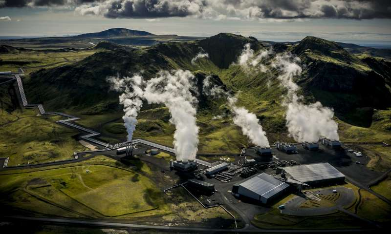 Air photograph of Reykjavik Energy's Hellisheidi geothermal power plant. CO2 and H2S gases were injected in a basaltic storage reservoir 500 meters below the surface. Credit: Árni Sæberg.