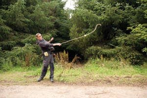 A British slinging expert replicates the Roman bullets slings.