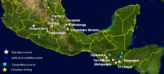 Map showing the locations of some of the main obsidian sources in Mesoamerica. Credit: Wikipedia