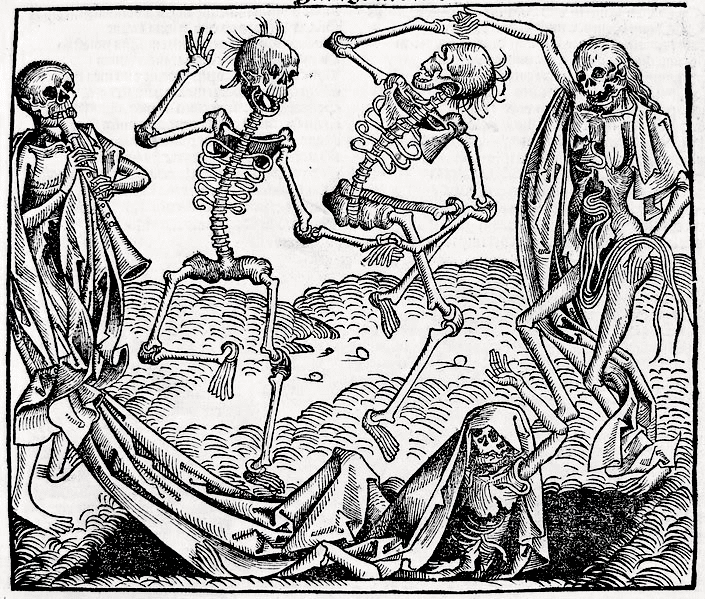 The Dance of Death or Danse Macabre is an allegory on the universality of death. It's a common painting motif in the late medieval period, heavily influenced by the collective trauma the Black Plague inflicted.
