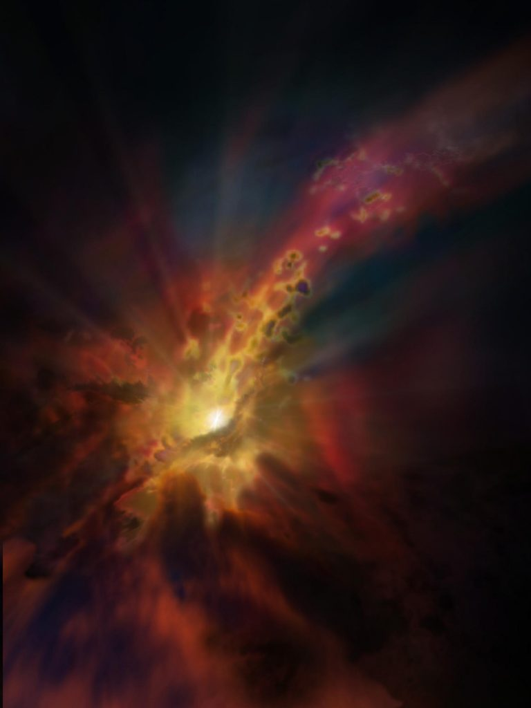 Artist impression of cold gas being consumed by a supermassive black hole. Credit: NRAO/AUI/NSF; D. Berry / SkyWorks; ALMA (ESO/NAOJ/NRAO)