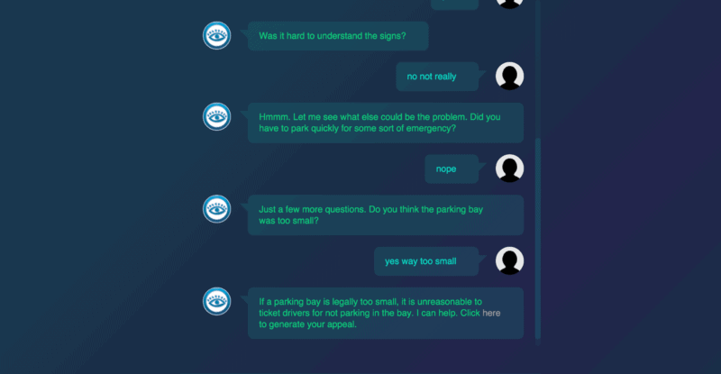 Screenshot of how the chat bot interface looks like. Credit: Do Not Pay