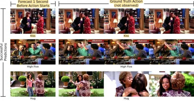 Left: still frame given to the algorithm which had to predict what happened next. Right: next frames from the video. Credit: MIT CSAIL