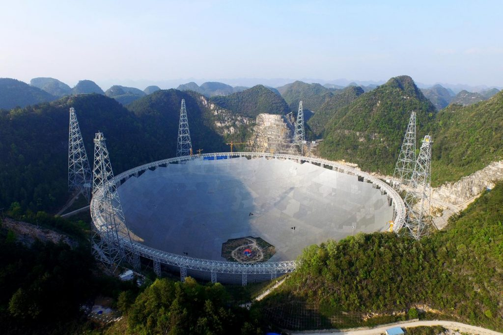 The 500 metre Aperture Spherical Telescope (FAST) nearing completion. Image credits: NAOC