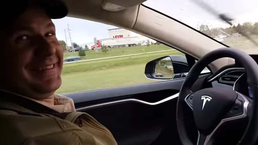 Joshua Brown and his Model S. Credit: YouTube
