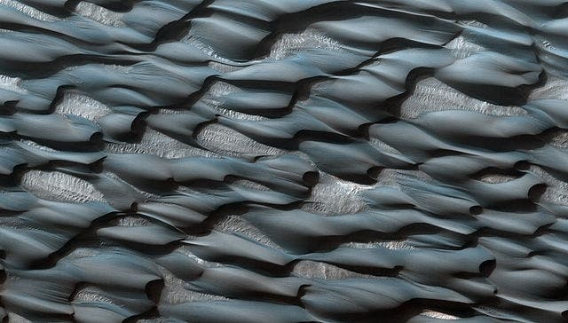 Martian sand ripples as recorded by the Mars Reconnaissance Orbiter from the planet's orbit. Credit: Wikimedia Commons