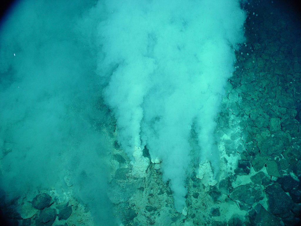 A hydrothermal vent in the Northwest Eifuku volcano. Credit: National Oceanic and Atmospheric Administration (NOAA)