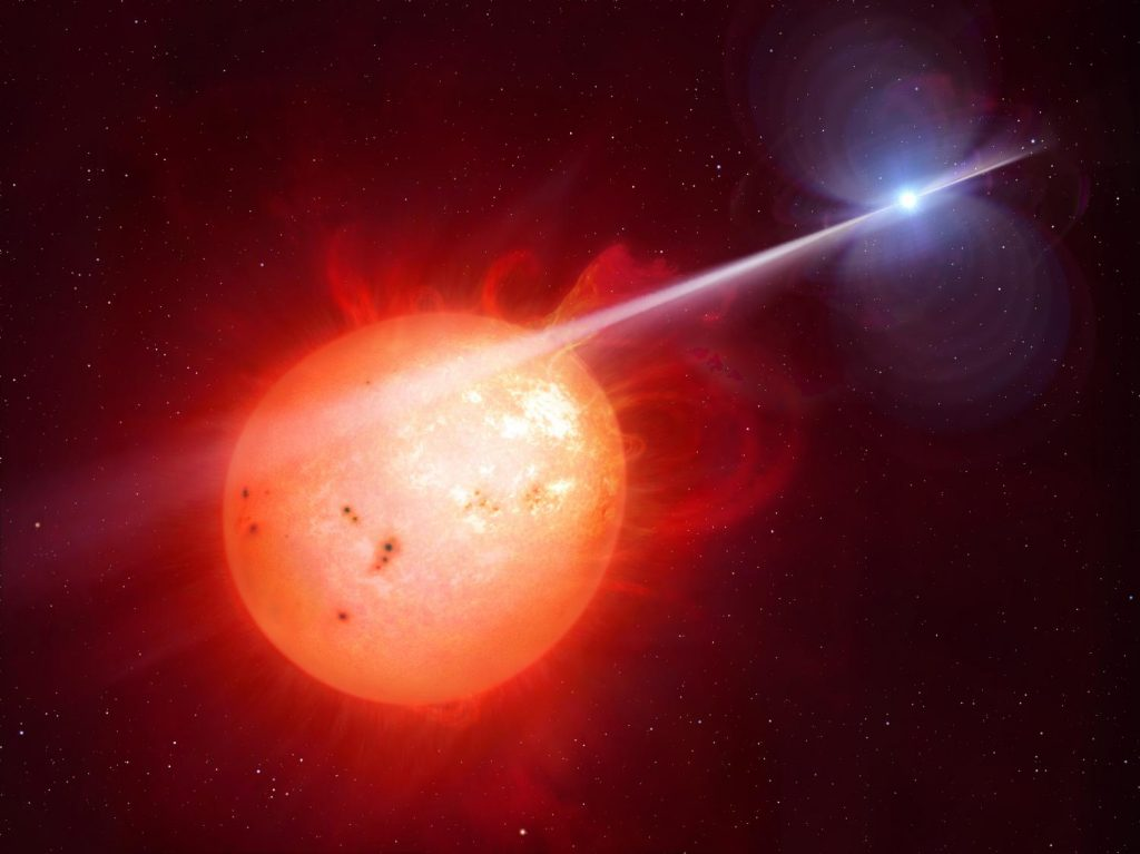 Illustration of the pulsing white dwarf lashing particles and radiation onto its companion red dwarf. Credit: University of Warwick