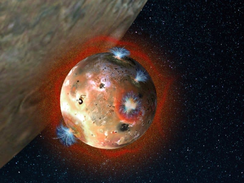 Artist's concept of Jupiter's volcanic moon Io, whose volcanoes create an ephemeral atmosphere during sunlit hours. Image: Southwest Research Institute