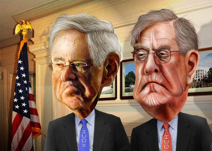 Charles and David Koch - The Koch Brothers. Credit: Flickr user DonkeyHotey.