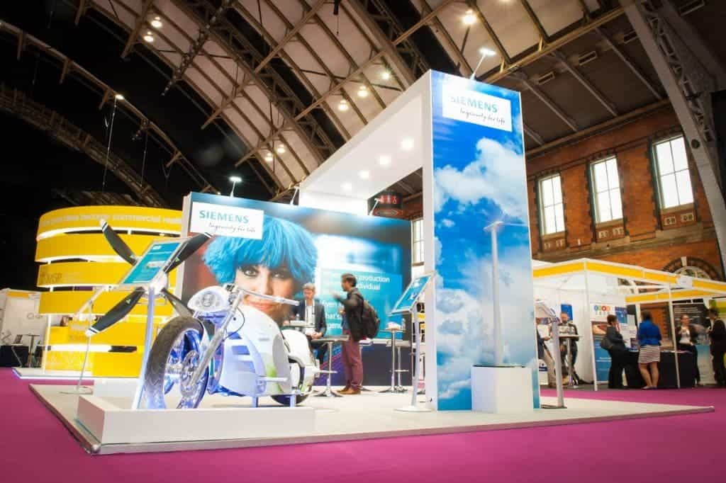 The Siemans stand in the main exhibition hall at the EuroScience Open Forum at Manchester Central, in Manchester, United Kingdom on Wednesday 27th July 2016. Credit: Matt Wilkinson Photography
