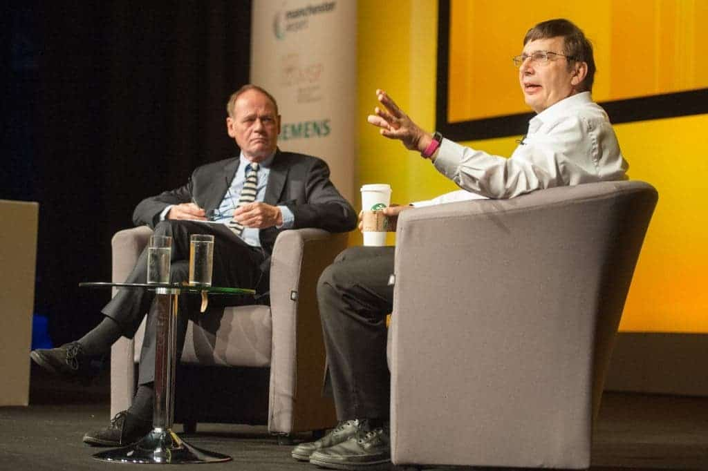 Sir Andre Geim in conversation with John Lloyd in the Exchange Auditorium as part of the EuroScience Open Forum at Manchester Central, in Manchester, United Kingdom on Tuesday 26th July 2016. Credit: Matt Wilkinson Photography