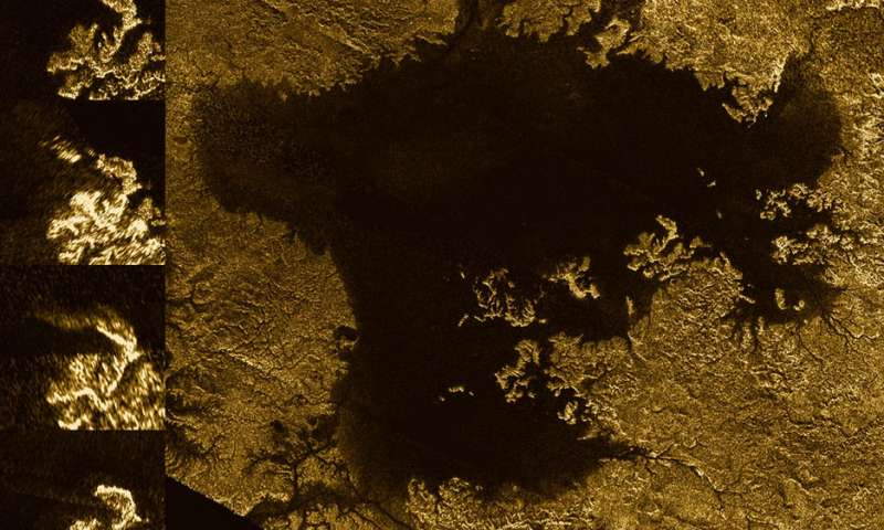 One of Titan's huge methane sea. In the upper left you can see a network of methane filled canyon-structures called the Vid Flumina. Credit: NASA