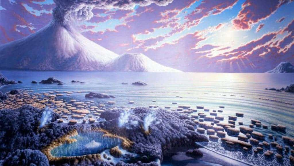 Illustration of early Earth. Peter Sawyer / Smithsonian Institution.
