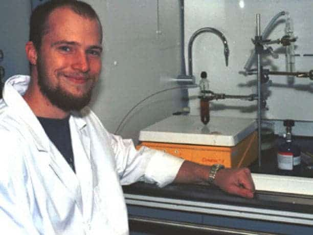 Pasek next to a tube that contains a meteorite sample dissolved in fresh water. Credit: University of Arizona