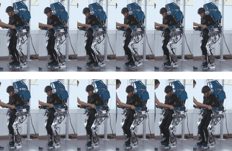 Patients controlled an exoskeleton's legs on a treadmill using their thoughts. Credit: AASDAP
