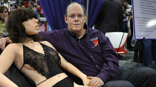 """""""This is the future"""" ... inventor Doug Hines with his sex robot, """"Roxxxy"""". Credit: SMH.au"""