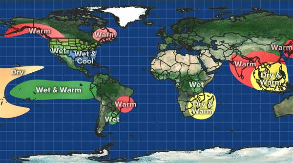 How El Nino is affecting areas around the world. Courtesy of NBC News