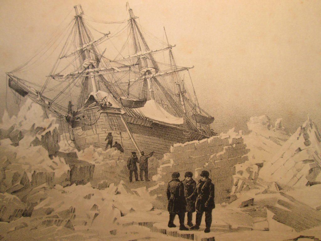 Artistic depiction of the HMS Terror, via Toronto Public Library.