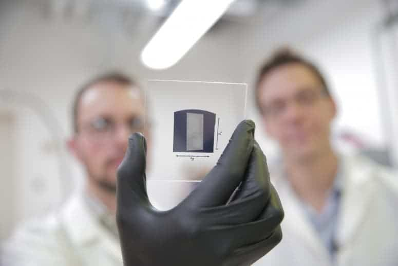 A highly pure array of carbon nanotubes was deposited onto 1 inch by 1 inch substrates. The resulting nanotube transistors outperformed the silicon transistors used for the benchmark. Credit: Stephanie Precourt
