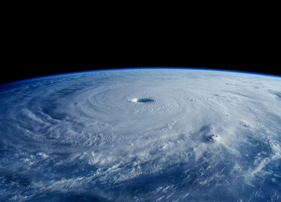 A monster typhoon as seen from the ISS. Credit: Wikimedia Commons