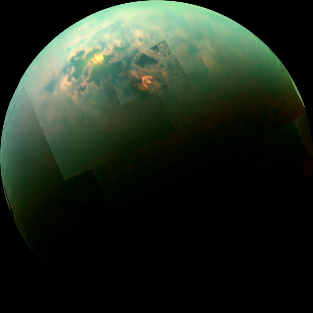 Near-infrared radiation from the Sun reflecting off Titan's hydrocarbon seas. Photo by NASA/JPL.