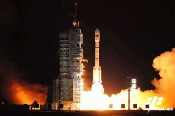 Tiangong-2 launched on the Long March 2F rocket on Thursday. Credit: China Manned Space Program