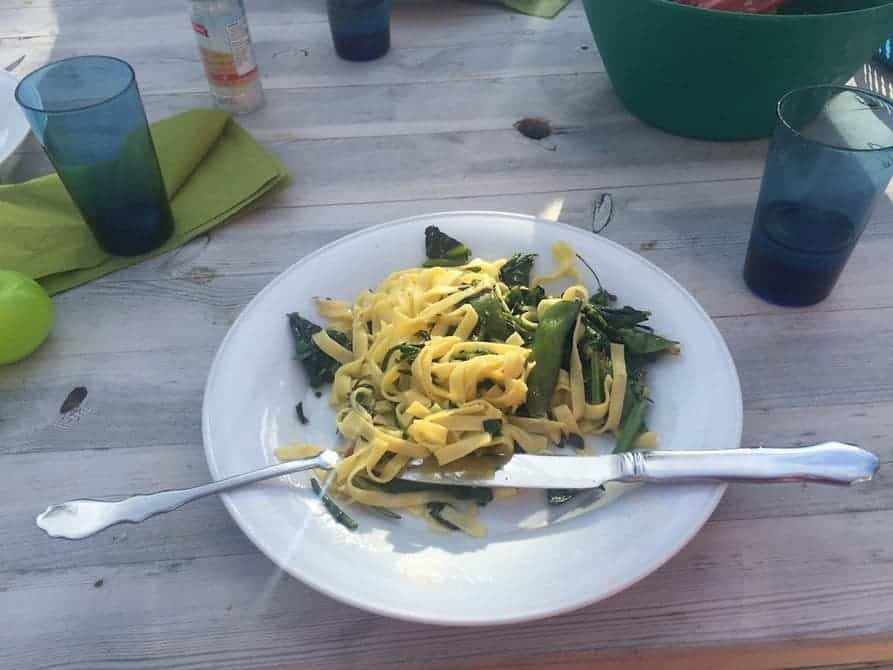 Tagliatelle pasta, Swiss chard, snowpeas, cheese, onion and CRISPR-edited cabbage. Credit: Stefan Jansson/Umea Universit