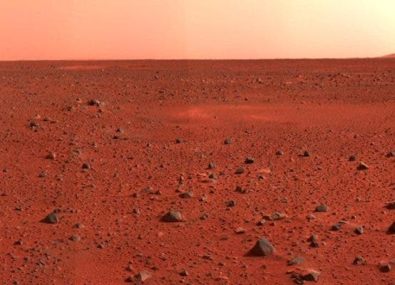 This dusty, iron-rich surface gives Mars its famous red. Beneath the dusty surface, which is anywhere between a few millimetres and two metres deep, we can find hardened lava composed mostly of basalt. Credit: NASA