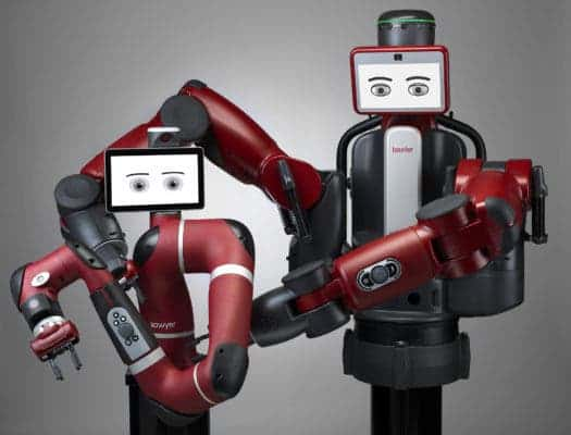Baxter and Sawyer being buddy-buddies. Credit: Rethink Robotics