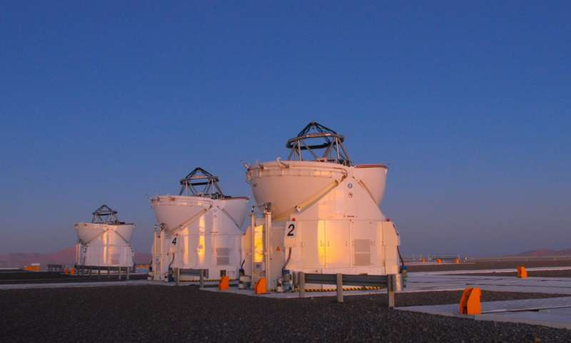 Three of the 1.8-metre telescopes of the Very Large Telescope Interferometer of the European Southern Observatory in Chile. Credit: Gerd Weigelt.