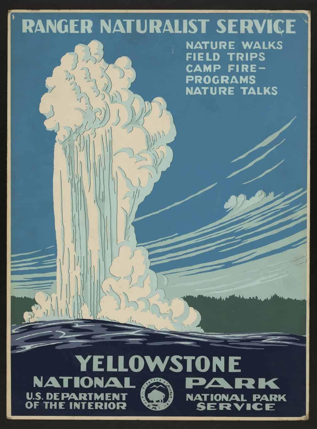 Old Faithful erupting at Yellowstone national park, circa 1938