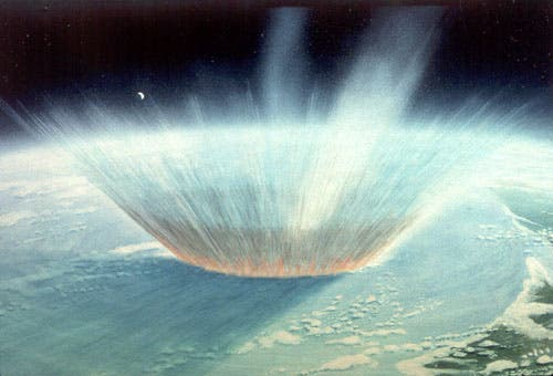 Artist rendering of Chicxulub impact. Credit: NASA