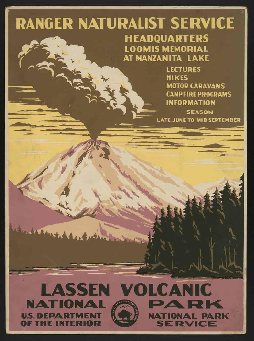 Lassen Volcanic national park and the Lassen erupting, 1938.