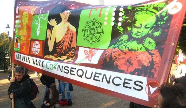 "2006 National Climate March, ""Buddhists for Creative Change"" banner, photo by Akuppa John Wigham, flickr C.C."