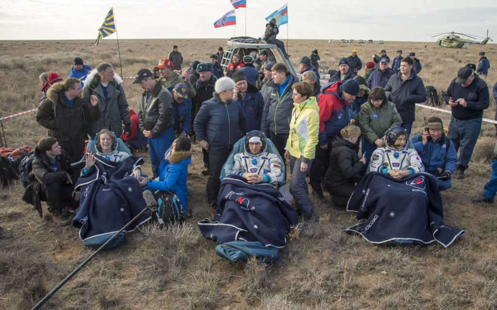 None of the astronauts was hurt or injured during the landing. It is, however, standard procedure that all astronauts who come back to Earth are carried in wheelchairs until they receive medical attention. Credit: NASA/Bill Ingalls