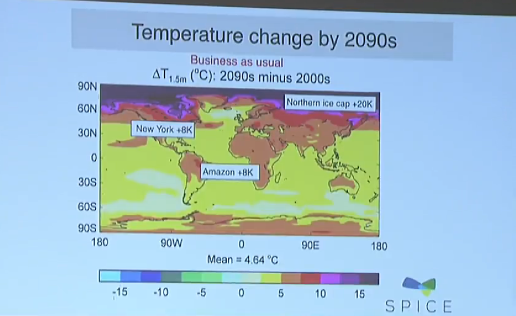 According to this high-resolution climate model, by the year 2090 the ice caps will warm by 20 degrees Kelvin, New York by 8 K, the Amazon, which is often called the lungs of the planet because of its ability to suck up carbon, also by 8 K. Credit: James Haywood, Met Office, 2014.
