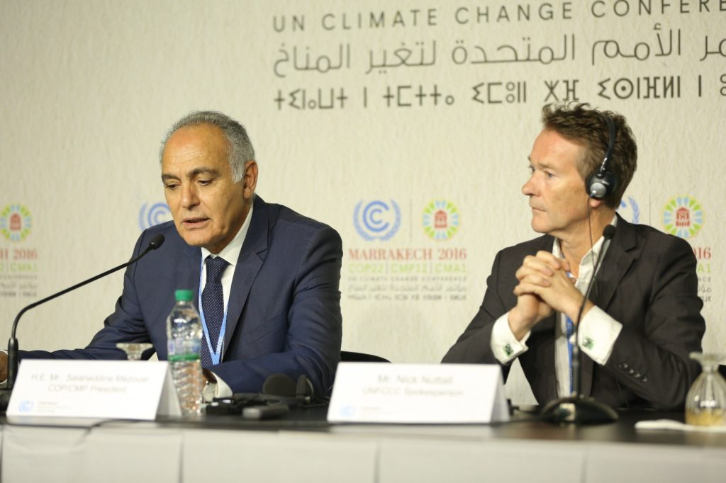 COP22 President Salaheddine Mezouar opened the conference with a message calling for more action and ambitious goals. Credit: COP22 Presidency