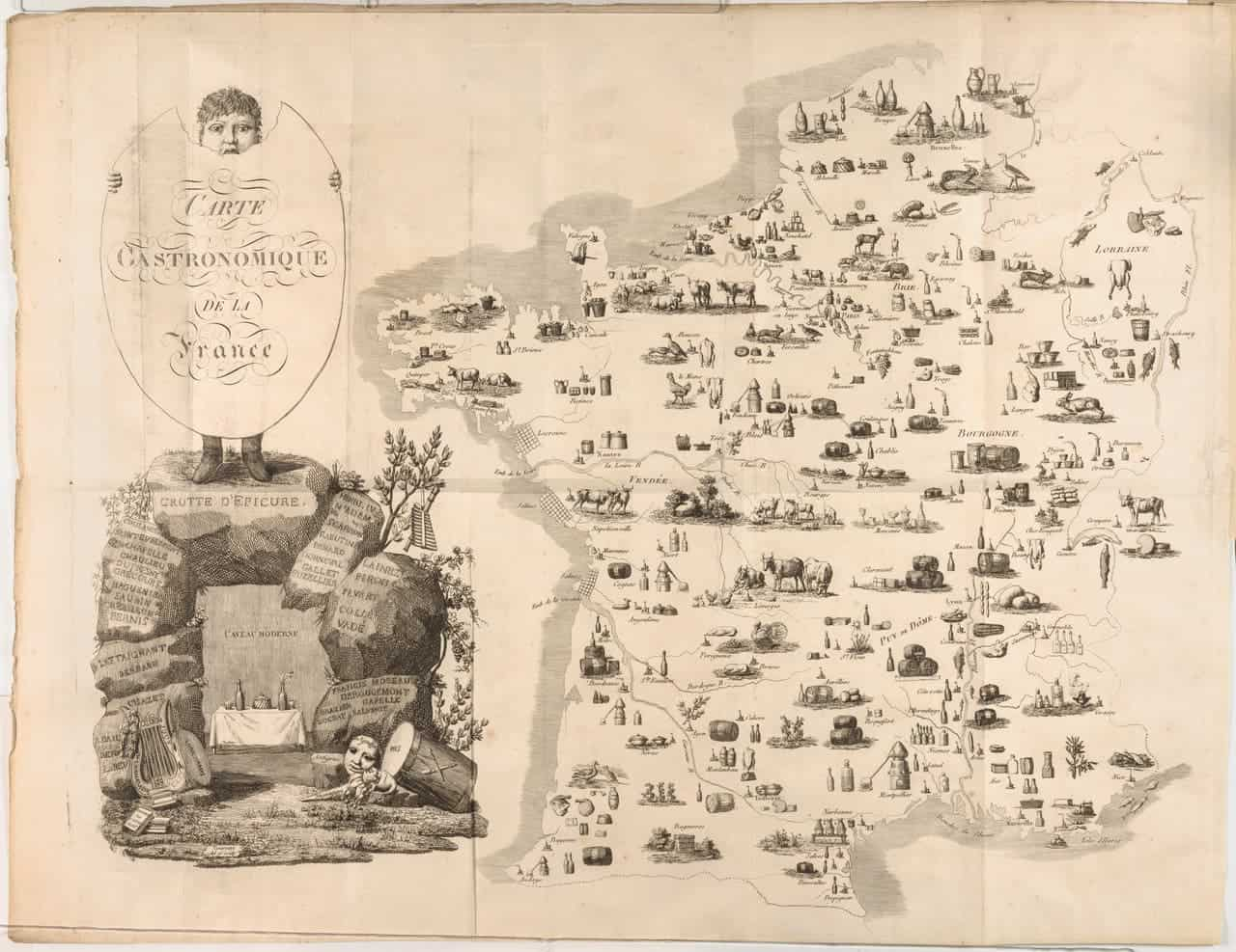 1809 map shows where all our favorite french foods came from for All about french cuisine