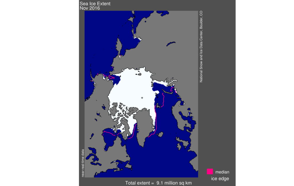 This plot shows the relationship between September sea ice extent (1953 to 2015) and cumulative CO2 emissions since 1850. Credit: J. Stroeve, National Snow and Ice Data Center . Credit: National Snow and Ice Data Center