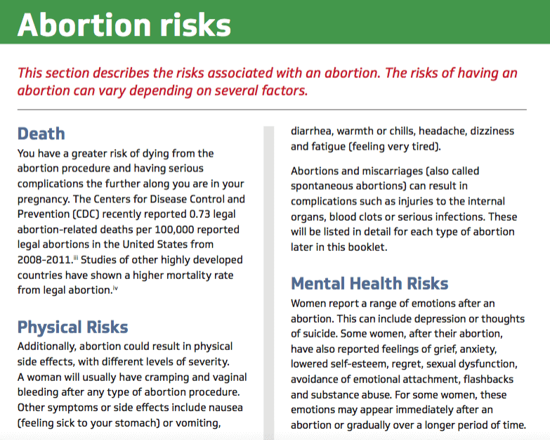 Texas abortion leaflets contain unscientific, misleading information