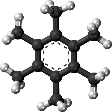 This is the Hexamethylbenzene molecule. When the molecule loses two electrons, it changes its configuration such that a carbon atom bonds to six other. Credit: Wikimedia Commons.